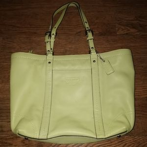 Authentic Coach Gallery Lime Green Leather Tote